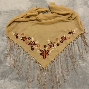 Tan Macrame Embroidered Swimsuit Coverup Sarong